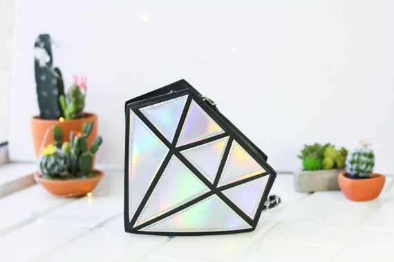 Novelty Diamond Shape Hologram Shoulder Crossbody Handbag | Chain Purse Shoulder Bag | 3D Diamond Bag | Holographic Bag | Silver Hologram
