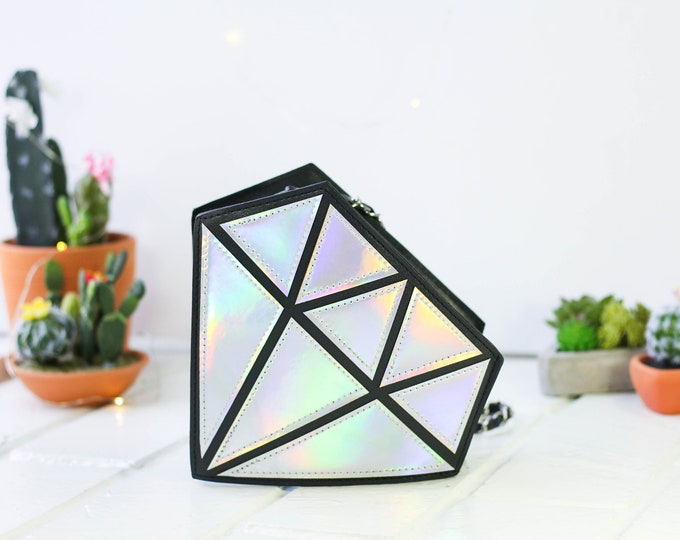 Featured listing image: Novelty Diamond Shape Hologram Shoulder Crossbody Handbag | Chain Purse Shoulder Bag | 3D Diamond Bag | Holographic Bag | Silver Hologram