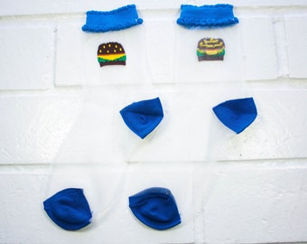 Women Sheer Mesh Crew Socks -  Hamburger   Foodie   Funky Socks   Novelty Socks   Clear Ultra-Thin Transparent Socks   Harajuku