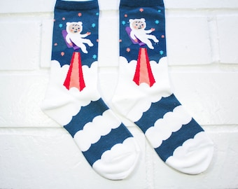 Socks | Womens Socks | Novelty Socks | Funny Socks | Cute Socks | Women Novelty Socks | Gifts Idea | Crazy Socks | Space Rocket