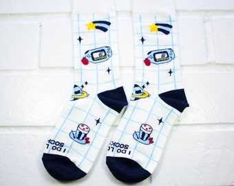 Women Crew Socks - Love My Swag | Thick Socks | White & Blue Socks | Funny Socks| Instagram | Unisex | School | Gamer Socks | Gift Under 10