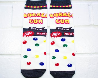 Women Crew Socks - Bubble Gum | Gumballs | Thick Socks | Candy Lover | Funny Socks | Instagram | School | Unique Socks | Gift Under 10