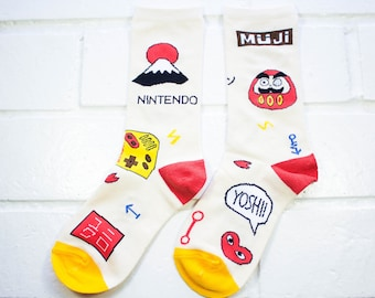 Women Crew Socks - Japanese Theme | Thick Socks | Funny Socks | Japan Lover | Instagram | Unisex | School | Gamer Socks | Gift Under 10