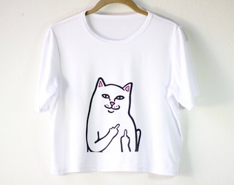 Shirt | White Shirt | Women's Shirts | Graphic Tees | Funny T Shirts | Gift for Girls |Gift Idea| Size SMALL/MEDIUM ONLY | Middle Finger Cat