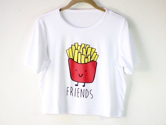 French Fries Graphic Tee Shirt | Women's Shirt | Foodie Crop Top | Funny Matching Shirt | Bff Gift for Her | Gift Idea | Size SMALL/MEDIUM