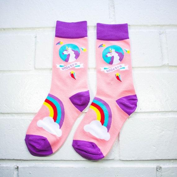 Women Crew Socks - Unicorn & Rainbows | Thick Socks | Bubblegum Pink and Purple Socks | Kawaii | Unicorn Lover | Instagram | Gift Idea