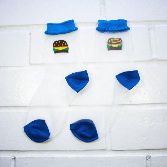Women Sheer Mesh Crew Socks -  Hamburger | Foodie | Funky Socks | Novelty Socks | Clear Ultra-Thin Transparent Socks | Harajuku
