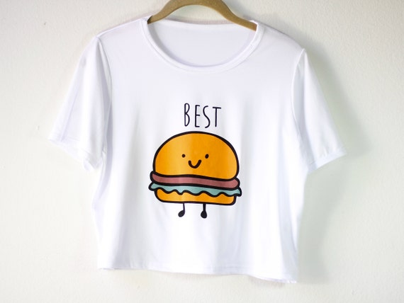Hamburger Graphic Tee Shirt | Women's Shirt | Foodie Crop Top | Funny Matching Shirt | Bff Gift for Her | Gift Idea | Size SMALL/MEDIUM ONLY