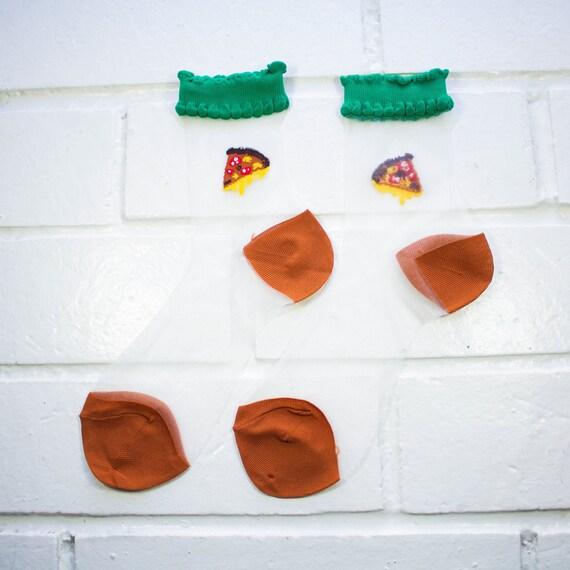 Women Sheer Mesh Crew Socks -  Pizza | Foodie | Funky Socks | Novelty Socks | Clear Ultra-Thin Transparent Socks | Harajuku