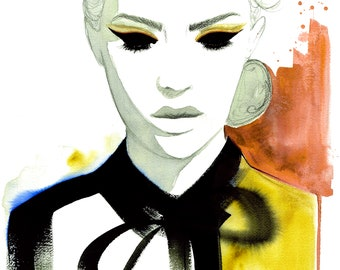 Fashion Never Fades, print from original watercolor and mixed media fashion illustration by Jessica Durrant