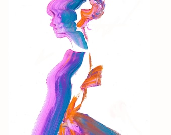 Fade into You, print from original gouache fashion illustration by Jessica Durrant