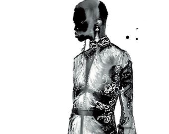 Black is Beautiful, print from original watercolor fashion illustration by Jessica Durrant