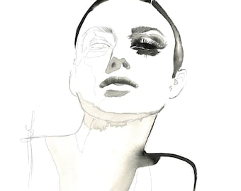Unfinished Beauty, print from original mixed media fashion illustration by Jessica Durrant