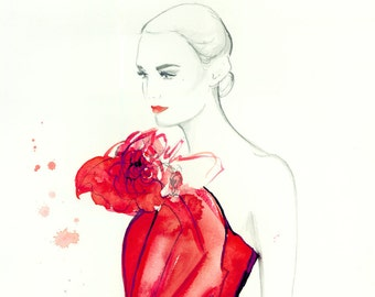 Red Red Rose, print from original watercolor fashion illustration by Jessica Durrant