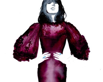 The Oxblood Dress, print from original watercolor and pen fashion illustration by Jessica Durrant