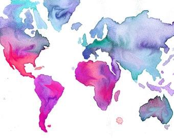 Watercolor World Map Illustration No. 7 print