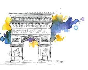 Arc de Triomphe Illustration print