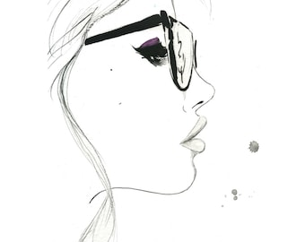That Nerdy Girl, original watercolor and pen fashion illustration by Jessica Durrant