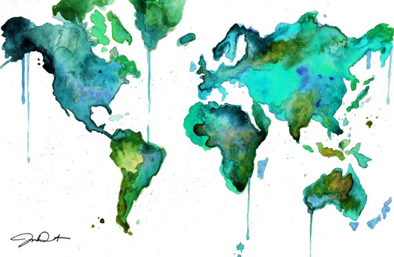 Watercolor World Map No. 6 | Etsy