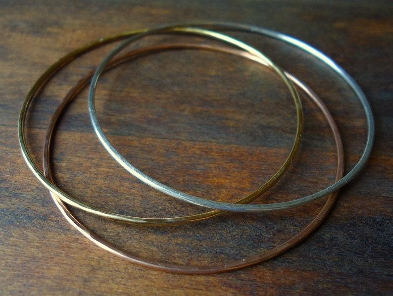 Thin 3 Bangles Gold Silver Rose Gold Small