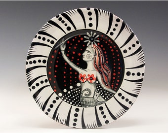 """Dessert or Tapas Plate - Painting by Jenny Mendes on a 5 3/4"""" round ceramic tapas plate - Out With The Kitty"""