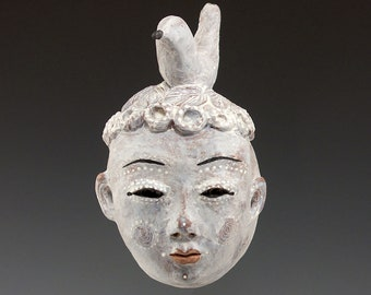 Bird Crown - Ceramic Wall Mask by Jenny Mendes