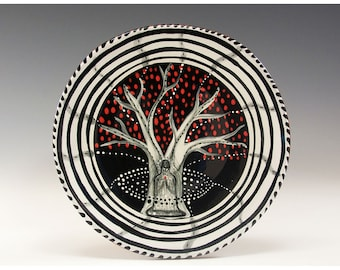 """Dessert or Tapas Plate - Painting by Jenny Mendes on a 5 1/2"""" round ceramic tapas plate - Peace in Nature"""