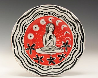 """Dessert or Tapas Plate - Painting by Jenny Mendes on a 5 3/4"""" round ceramic tapas plate - Sitting With A Bird"""