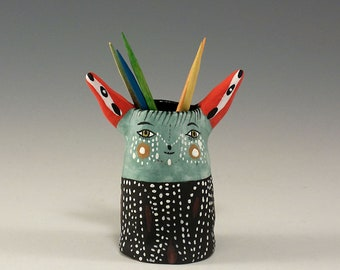 Andy - Ceramic Bear Toothpick Holding Bud Vase by Jenny Mendes