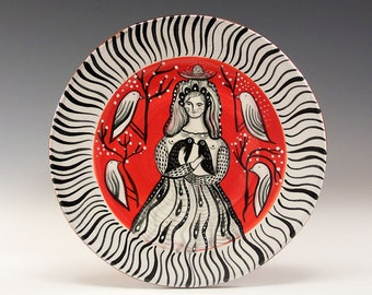 """Dessert or Tapas Plate - Painting by Jenny Mendes on a 5 3/4"""" round ceramic tapas plate - Among The Birds"""