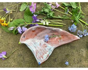 Lemon Lime Green Beaked Ceramic Bird Bowl - by - Jenny Mendes - Sculpted Ceramic Pinch Bowl