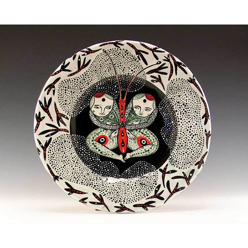 Butterfly 8 34 inch Elegant One of a Kind Painted Bowl by Jenny Mendes