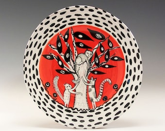 """Dessert or Tapas Plate - Painting by Jenny Mendes on a 5 1/2"""" round ceramic tapas plate - Cats Playing Tree"""