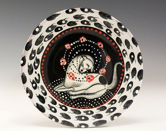 """Dessert or Tapas Plate - Painting by Jenny Mendes on a 5 1/2"""" round ceramic tapas plate - A Dogs Life"""