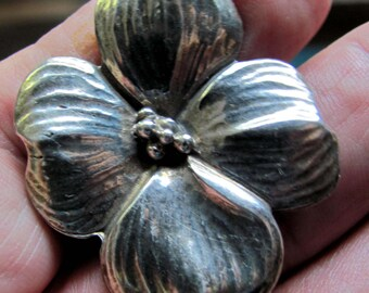 Vintage Sterling Silver Dogwood Bloom Brooch or Pin by H&H Silver Company, United States made Brooch