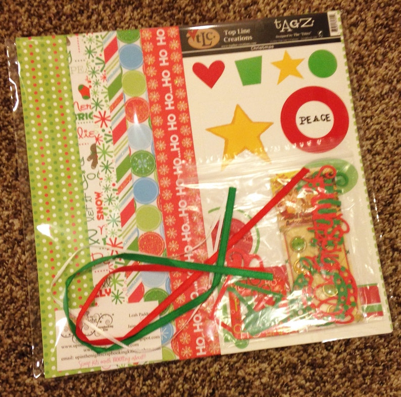 Christmas DYI Scrapbooking Paper Embellishment Kit 12x12 2 Pages Premade