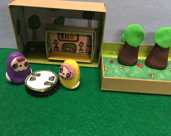 Little weirdlings ,toy set,forest,house,monsters,gumdrop yetis,cute,fun,quirky ,miniature ,clay,stocking stuffers