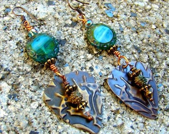 Brass and Glass Earrings