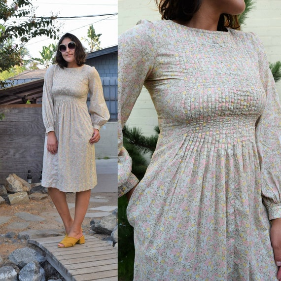 70s Vintage Albert Nipon Floral Peasant Dress with