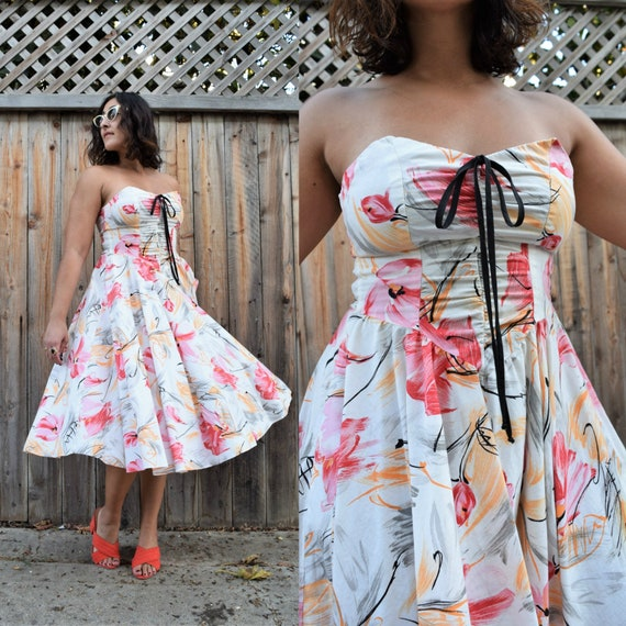 Vintage 80s does 50s Strapless Abstract Floral Pri