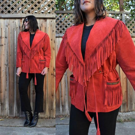 80s 90s Vintage Red Suede SCULLY Fringe Jacket M L