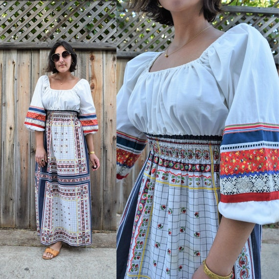 70s Folk Maxi Dress with Poet Sleeves S