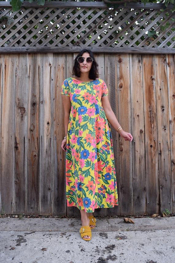 70s Vintage Floral Print Caftan Maxi Dress M - image 6