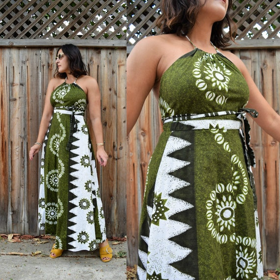 60s Vintage Hawaiian Cotton Wrap Halter Maxi Tiki