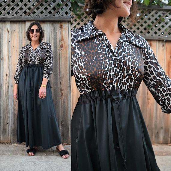 70s Vintage Leopard Print House Dress Nightgown S