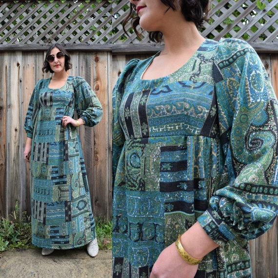 70s Vintage Poet Sleeve Maxi Dress S M
