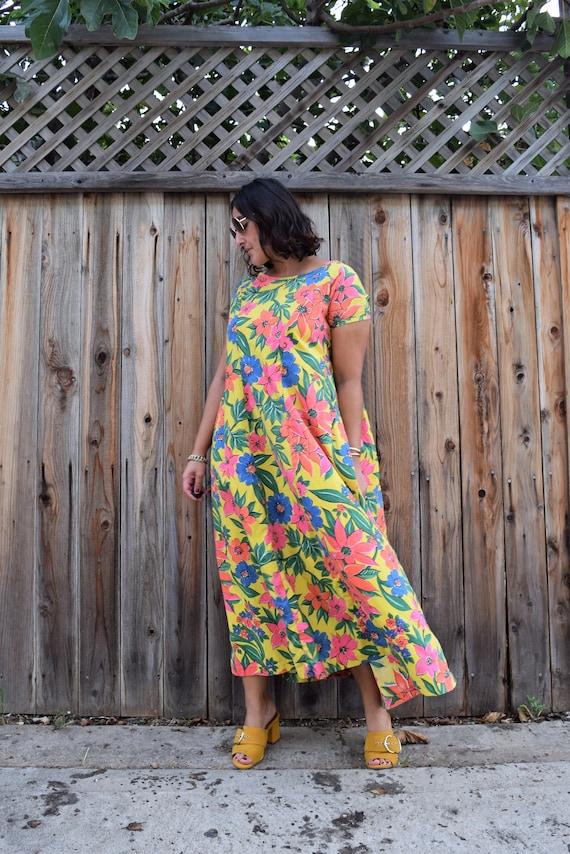 70s Vintage Floral Print Caftan Maxi Dress M - image 8