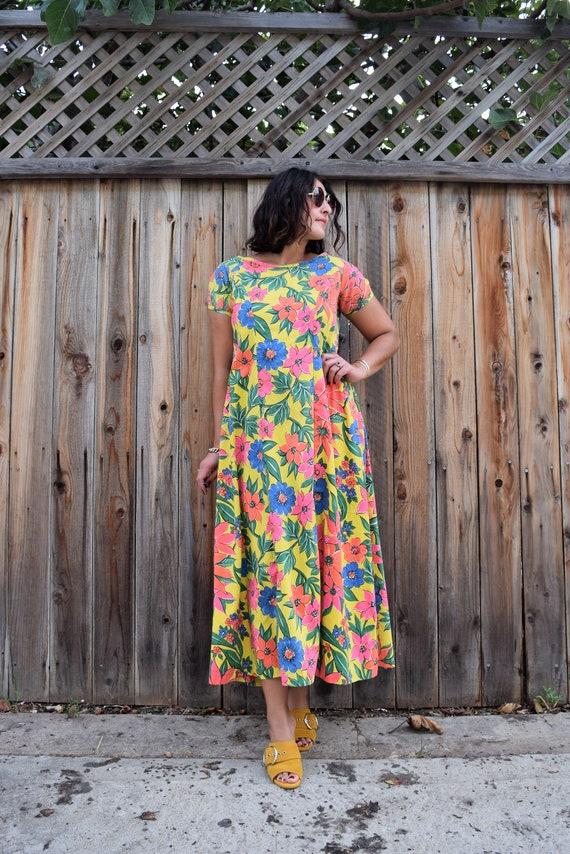 70s Vintage Floral Print Caftan Maxi Dress M - image 7