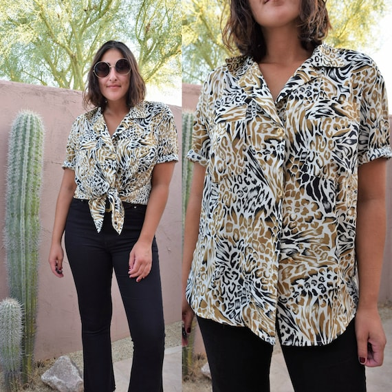 90s Animal Print Button Up L