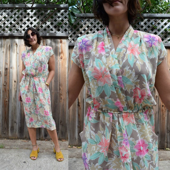 80s Vintage Spring Florals Midi Dress with Pockets